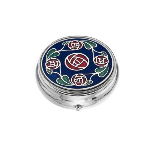 Large Pill Box Silver Plated Mackintosh Roses and Leaves Blue Brand New & Boxed